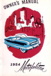 1954 AMC Nash Metropolitan Owners Manual User Guide Reference Operator Book