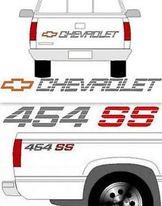 454 SS Kit Chevy Truck Bedside Decals 90 91 Chevy Truck