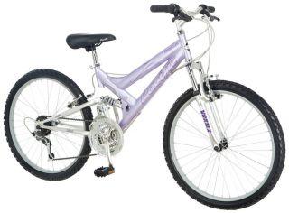 "Pacific 24"" Girls Chromium Full Suspension Mountain Bike Bicycle Lavender Chrome"