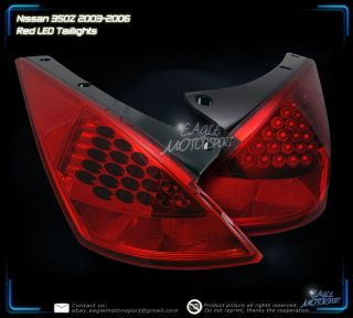 2003 2005 Nissan 350Z LED Red Clear Tail Lights Driver Passenger Rear Lamps