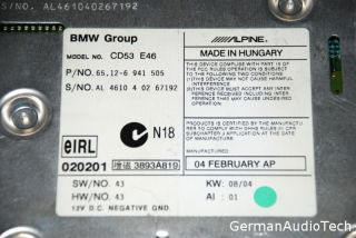 BMW E46 Business CD Player Radio Stereo 325i 328i 330i M3 Alpine February 2004