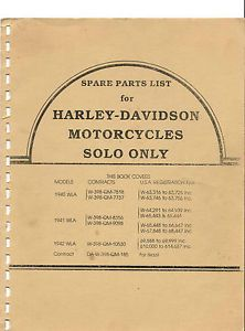 Harley Davidson Parts Manual Book WLA Models 1940 1941 1942