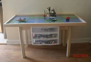 Handcrafted Lego Building Block Table w 3 Drawer Storage