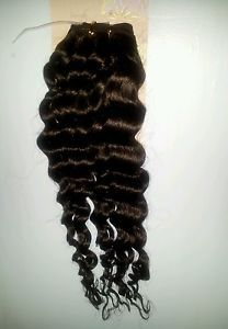 2 Bundles 18inch Deep Wave Curly Virgin Remy Brazilian Human Hair Extensions 1B