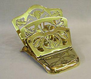 C1894 Antique Art Nouveau Jugendstil Brass Letter Rack DIP Pen Rest Stamp Box