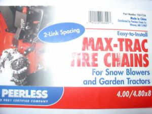 Snowblower Snow Blower Tire Chains 4 00x8 or 4 80x8