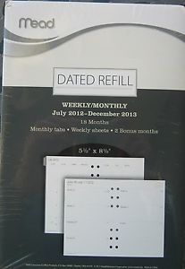 "Mead Planner Weekly Monthly Dated Refill July 2012 Dec 2013 5 5"" x 8 5"" New Seal"