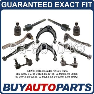 Brand New Front Upper Lower Control Arm Ball Joint Tie Rod End Kit Honda Accord
