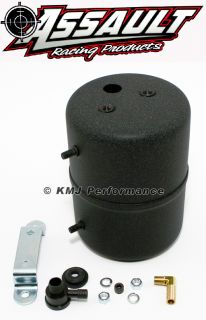 Black Vacuum Reservoir Power Brake Booster Canister w Check Valve and Hardware
