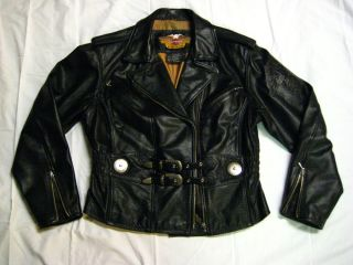 Harley Davidson Embossed Leather Motorcycle Jacket Sz Large Beautiful Jacket