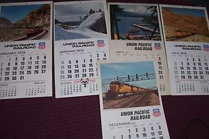 Vintage Union Pacific Railroad Wall Calendars 20 Total Starting with 1966 Up