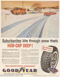 1950s Vintage Snow Plow Truck Highway Tow Goodyear Winter Tire Auto Art Ad