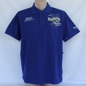 "Ford Motor Co ""Heritage"" Blue Polo Shirt Genuine Licensed"