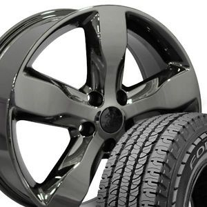 "20"" Jeep Grand Cherokee Black Chrome Wheels Set of 4 9107 Rims and Lt Tires"