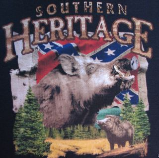 Hunting Tshirt Southern Heritage Boar Confederate Flag Rebel Redneck Dixie