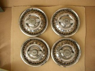 "Vintage Set of 4 62 64 Corvair Chevy II 14"" Wire Hub Caps Wheel Covers"