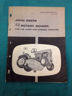 Vintage John Deere 48 Rotary Mower for 140 Lawn Garden Tractors Manual