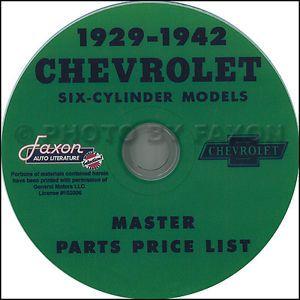 Chevy Parts Catalog CD 1936 1937 1938 1939 1940 1941 1942 Chevrolet Car Truck