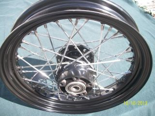 """Black and Chrome Harley 16"""" Front Wheel 2000 2006 Softail Dyna"""