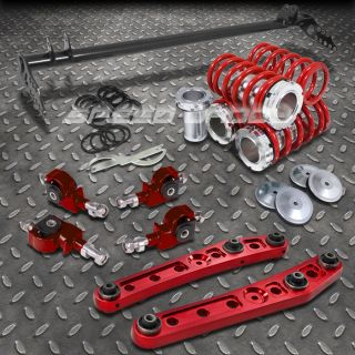 Red Scaled coilover Traction Bar Control Arm 4pc Camber Kits 92 95 Civic EK DC