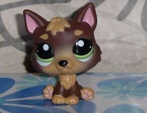 Littlest Pet Shop Chocolate German Shepherd Puppy 2137 Brown LPS Dog Gold Black