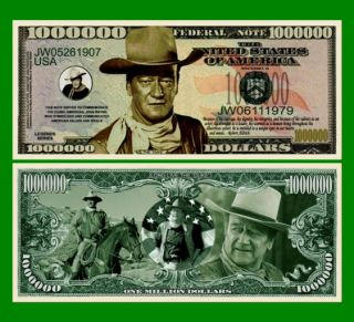 100 Factory Fresh John Wayne Million Dollar Bills New
