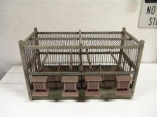 Vintage Antique Bird Cage Hotel Wood with Metal Bars and Opening Doors