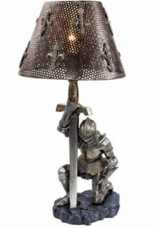 Weary Medieval Knight in Full Armor Table Light in Home Gothic Products Gifts