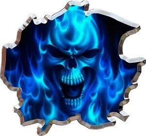 Ripped Flaming Skull Race Car Go Kart Motorcycle Hood Vinyl Graphic Decal