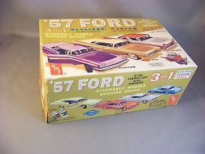 Vintage 1957 Ford Fairlane AMT 3 in 1 Model Kit Built in Box Parts Instructions