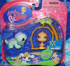 Littlest Pet Shop Wal Mart Exclusive Sportiest 766 Parakeet Bird 767 Iguana