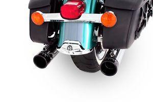 Rinehart Chrome Exhaust True Dual 4 inch Muffler Black Tip Harley Touring 95 08