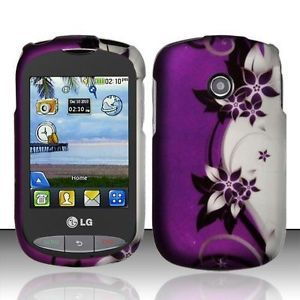 For Tracfone Net10 LG 800G Hard Protector Case Phone Cover Purple Silver Vines