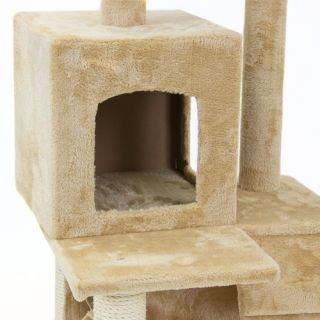 52 inch Tall Cat Condo Faux Fabric Scratching Post Hammock Tunnel