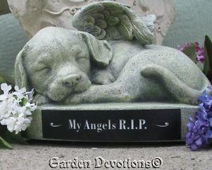 Puppy Dog Angel Garden Statue Pet Memorial Personalized Free