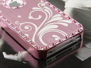 Pink Aluminum Chrome Bling Hard Case Cover for iPhone 4 4S 4G w Screen Protector