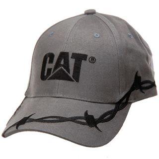 Caterpillar Cat Logo Cap Barbed Wire Hat Black Gray New