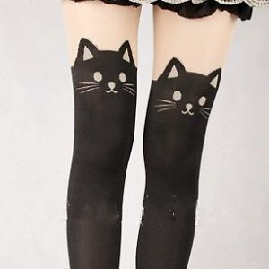 Cat Tail Knee High Tattoo Tights Pantyhose Harajuku Kera Cute Thigh Kitten AMO
