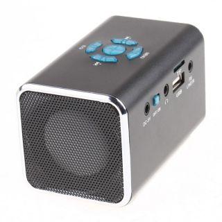 Mini Speaker Portable Amplifier  Player Micro SD TF USB Disk FM Radio Black