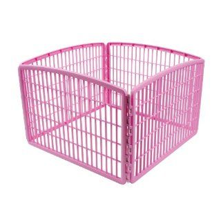 New Iris Plastic Exercise Containment Pet Pen 4 Panels Pink