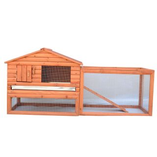 "62"" Wooden Rabbit Chicken House Coop Bunny Hen Hutch Pet Animal Backyard Ladder"