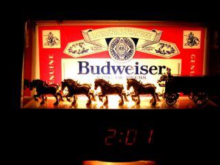 Vintage Budweiser King of Beers Clydesdales Cash Register Lighted Bar Beer Sign