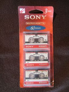 Sony Micro Cassettes Tapes 3 Pack 60 Minutes New