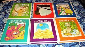 1980's Troll 6 Fairy Tale Paperback Books w Cassettes Cinderella Thumbelina