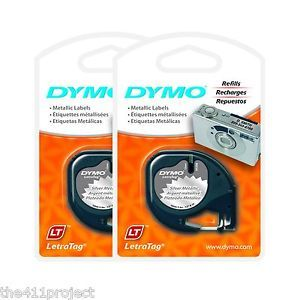 2pk Dymo LetraTag 91338 Silver Metallic Label Cassettes Letra Tag Lt QX50 XR New