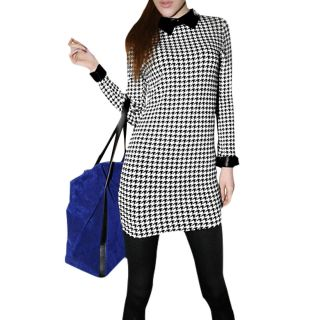 Sexy Women Black Beige XS Houndstooth Wing Collar Long Sleeve Stretchy Dress