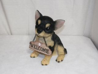 """New Chihuahua Rat Terrier Dog Puppy Welcome Sign Decoration Statue Figure 8 5"""""""
