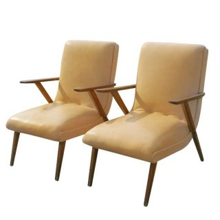 2 Vintage Italian Lounge Arm Chairs Manner Gio Ponti