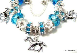 Blue Galloping Horse Pony Crystal Childrens Girls Charm Bead Bracelet