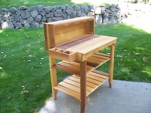 Western Red Cedar Wood Gardeners Deluxe Potting Bench with Natural Cedar Stain